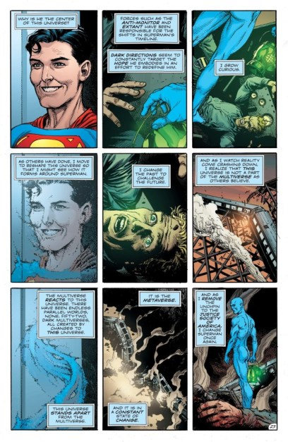 Doomsday Clock #10 Page 23 Credit: DC Comics, Gary Frank, Jerry Siegel, Joe Shuster, Martin Nodell, Alan Moore, David Gibbons.