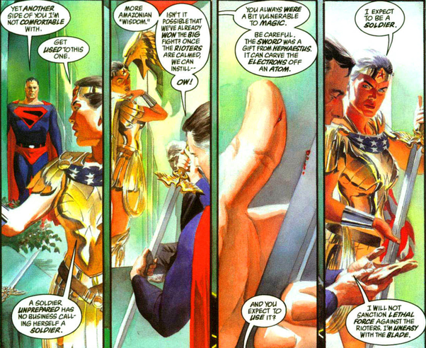 Wonder Woman and Superman having a discussion on being a Soldier. A panel from Kingdom Come; Artwork done by Alex Ross
