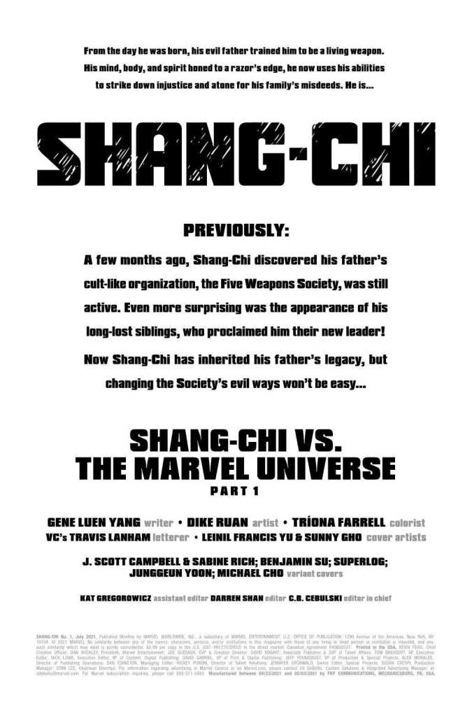 Shang-Chi Issue One Preview Page One