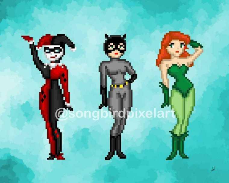 The Gotham Sirens- Song Bird Pixel Art